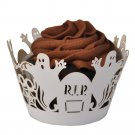 Spooky RIP Halloween Ghosts Laser Cut Cupcake Wrapper - 25 Count