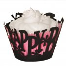 Happy Birthday Laser Cut Cupcake Wrapper - 25 Count