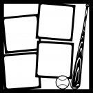 Baseball Bat and Ball Theme. Pre-made 12x12 Scrapbook Layout Page Overlays