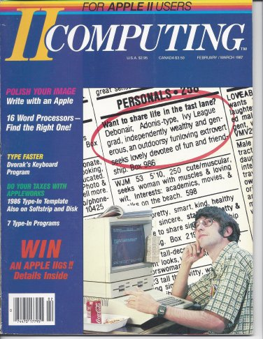 II Computing Magazine, February / March 1987, for Apple II II+ IIe IIc IIgs