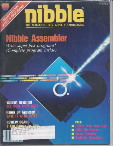 Nibble Magazine, November 1989, for Apple II II+ IIe IIc IIgs