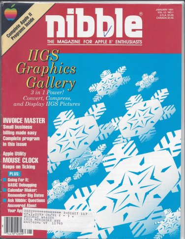 Nibble Magazine, January 1991, for Apple II II+ IIe IIc IIgs