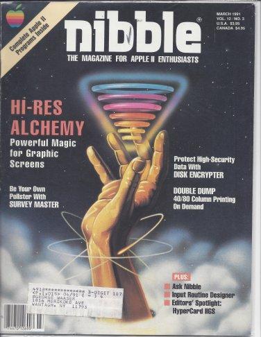 Nibble Magazine, March 1991, for Apple II II+ IIe IIc IIgs
