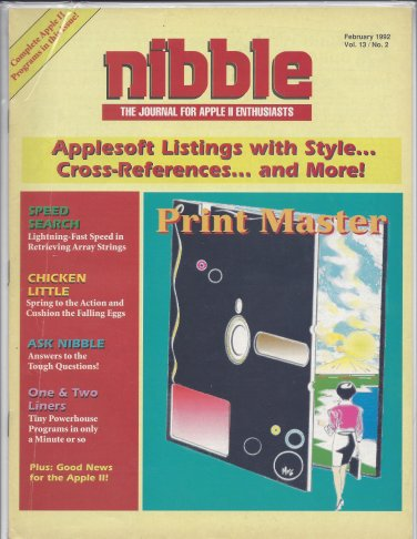 Nibble Magazine, February 1992, for Apple II II+ IIe IIc IIgs