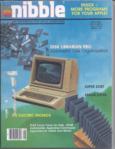 Nibble Magazine, May 1986, for Apple II II+ IIe IIc IIgs
