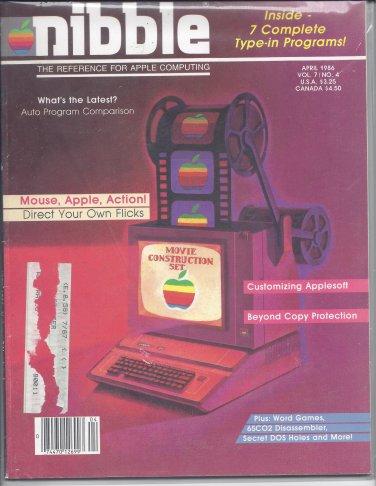 Nibble Magazine, April 1986, for Apple II II+ IIe IIc IIgs