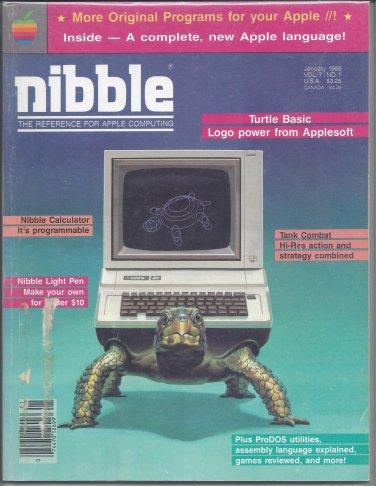 Nibble Magazine, January 1986, for Apple II II+ IIe IIc IIgs