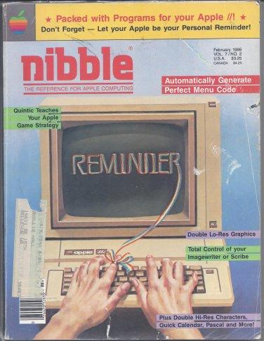 Nibble Magazine, February 1986, for Apple II II+ IIe IIc IIgs