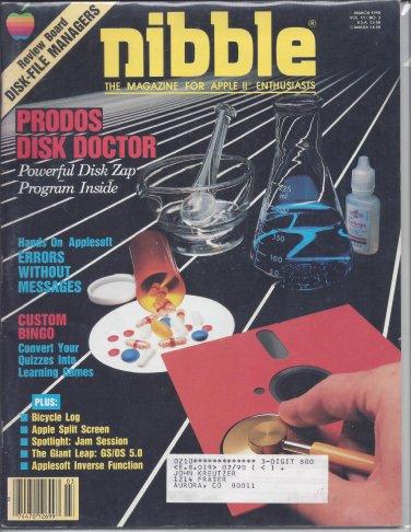 Nibble Magazine, March 1990, for Apple II II+ IIe IIc IIgs