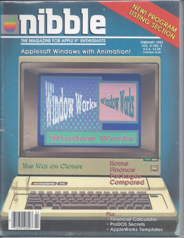 Nibble Magazine, February 1987, for Apple II II+ IIe IIc IIgs