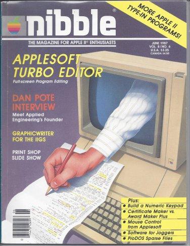 Nibble Magazine, June 1987, Marked, for Apple II II+ IIe IIc IIgs