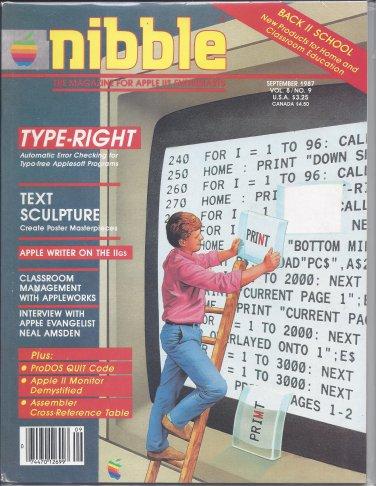Nibble Magazine, September 1987, for Apple II II+ IIe IIc IIgs