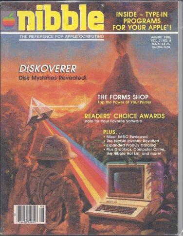 Nibble Magazine, August 1986, for Apple II II+ IIe IIc IIgs