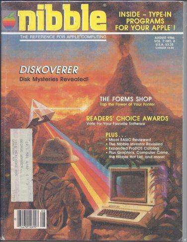 Nibble Magazine, August 1986, Marked, for Apple II II+ IIe IIc IIgs
