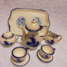 BLUE & WHITE WINDMILL MINATURE PORCELAIN TEA SET.....10PC SET
