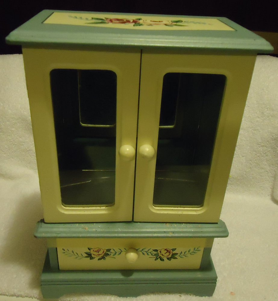 """BEAUTIFUL BLUE ALL WOOD JEWELRY BOX.11 1/4""""-TWO DOORS & ONE DRAWER-ROSE DECALS"""