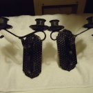 "SET OF TWO  DOUBLE ARM CANDLE HOLDER WALL SCONCE ....BLACK...APPROX 9"" TALL"