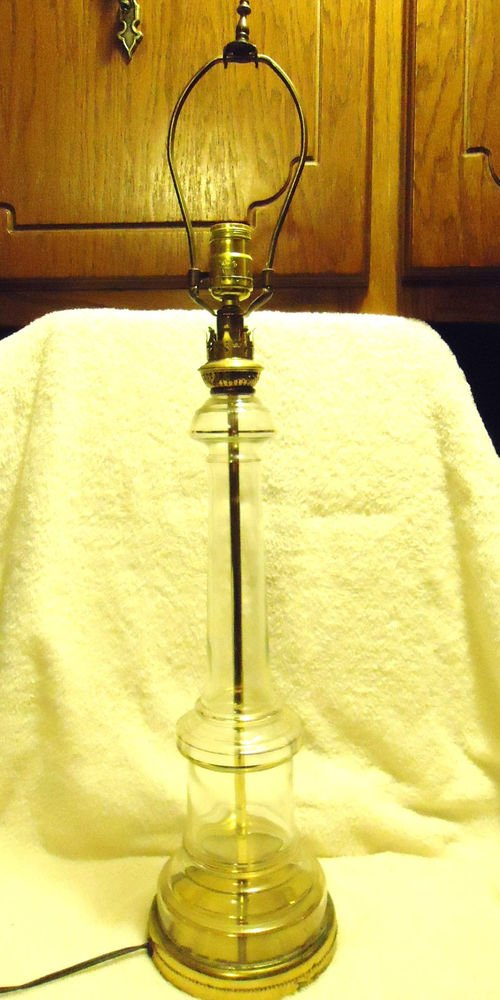 """LARGE HEAVY CRYSTAL AND BRASS TABLE LAMP 30 1/2"""" TALL....HEAVY"""