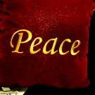 "DECORATIVE VELVET/VELOUR  ""PEACE"" CUSHION/PILLOW...10"" X 10"""