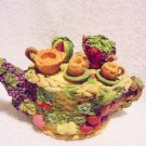 SMALL FRUIT COVERED TEAPOT WITH TEA SET ON TOP....SO DETAILED...
