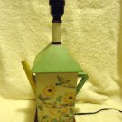 "UNIQUE VINTAGE WOODEN TEAPOT SHAPED TABLE LAMP/FLOWERS & BIRDS/18"" TO TOP OF BUB"