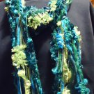 BLUE/GREEN DESIGN MIXED SOFT COTTON LADIES  SCARF NICE..WITH TASSELS .SO BRIGHT