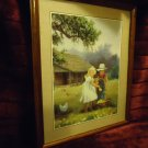 SMALL GIRL & BOY IN FRONT OF OLD HOUSE FRAMED & MATTED PRINT BY M. CAROSELLI...