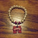 MISSISSIPPI STATE HANDMADE EXPANSION BRACELET..MAROON/GLASS PEARLS..RUBBERIZED M