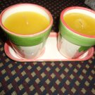 TWO CANDLES IN CERAMIC POTS AND TRAY-PINK/GREEN  & TULIPS..BY INTER SILVER CO