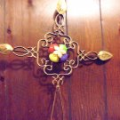 "BEAUTIFUL 22"" METAL WALL CROSS-GOLD WITH BRUSH PAINT & HANDPAINTED GLASS INSERTS"