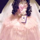 "PORCELAIN DOLL IN PINK WITH TIARA....UMBRELLA BOTTOM-APPROX 23"" TALL-""AUTUMN"""