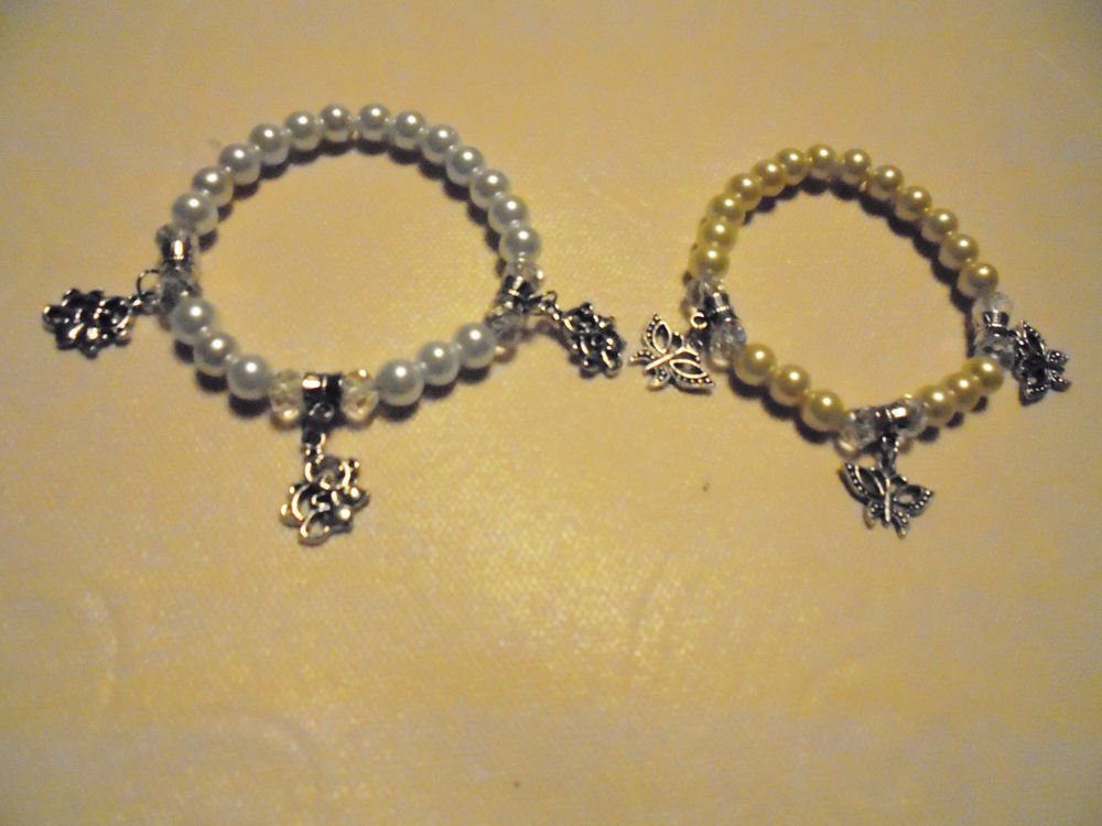 GLASS PEARL BRACELET WITH THREE CHARMS....CHOOSE FROM BUTTERFLY OR KOALA BEAR