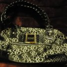 NICE MEDIUM SIZE XOXO BLACK  WITH X & O'S HANDBAG...PLATTED STRAPS....