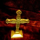 "ANTIQUED GOLDTONE STANDING CROSS....8 1/4"" TALL...NICE FINISH...GREAT GIFT"