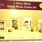 NEW 5 PC SILVER METAL PHOTO FRAME SET BY CARR...NICE....VARIETY OF SIZES