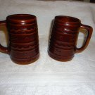 "TWO VINTAGE BROWN POTTERY STONEWARE SMALL 5 1/4"" PITCHERS..DAISY DOT PATTERN"