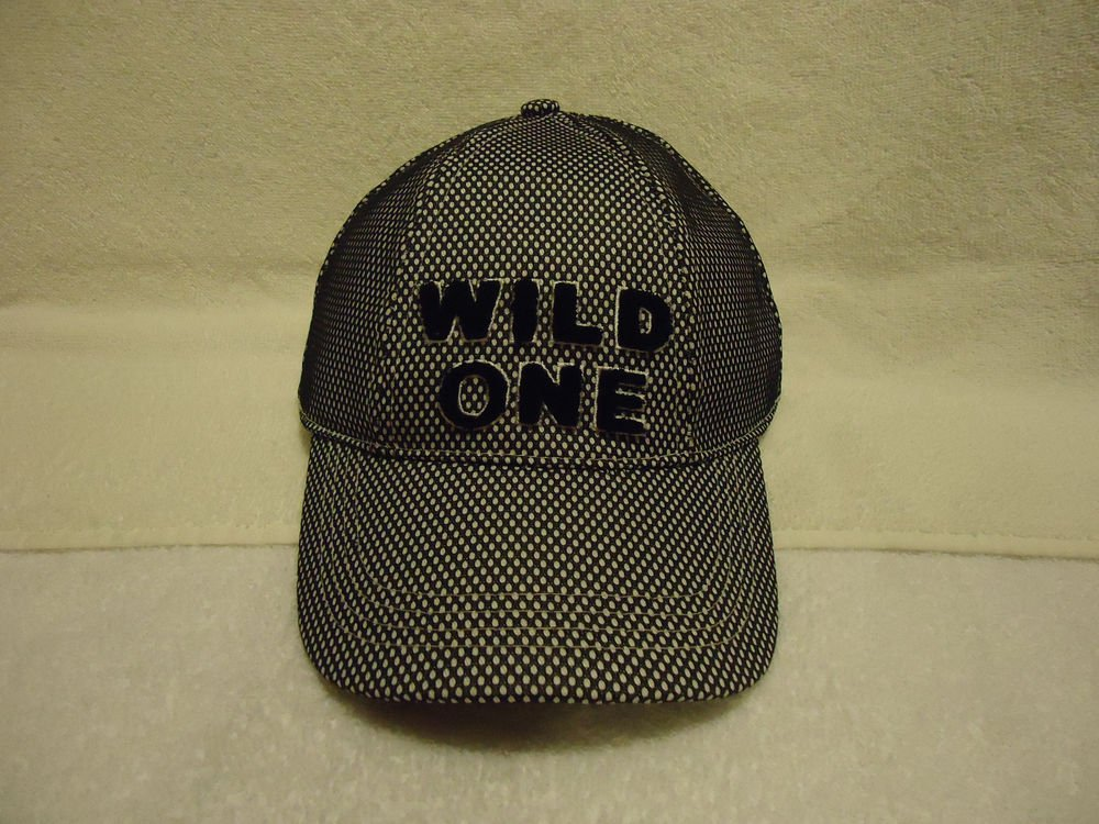 """BLACK AND WHITE (BASEBALL TYPE) CAP SAYS """"WILD ONE""""-- LADIES-REALLY COOL"""