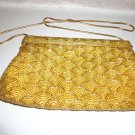 VINTAGE BEADED PURSE..ELEGANT..HANDMADE..GOLD WITH SHOULDER STRAP