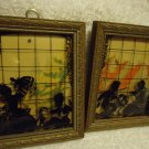 "FRAMED PAIR  4"" x 5"" Convex Glass Silhouette Picture Reverse Painted Wall"