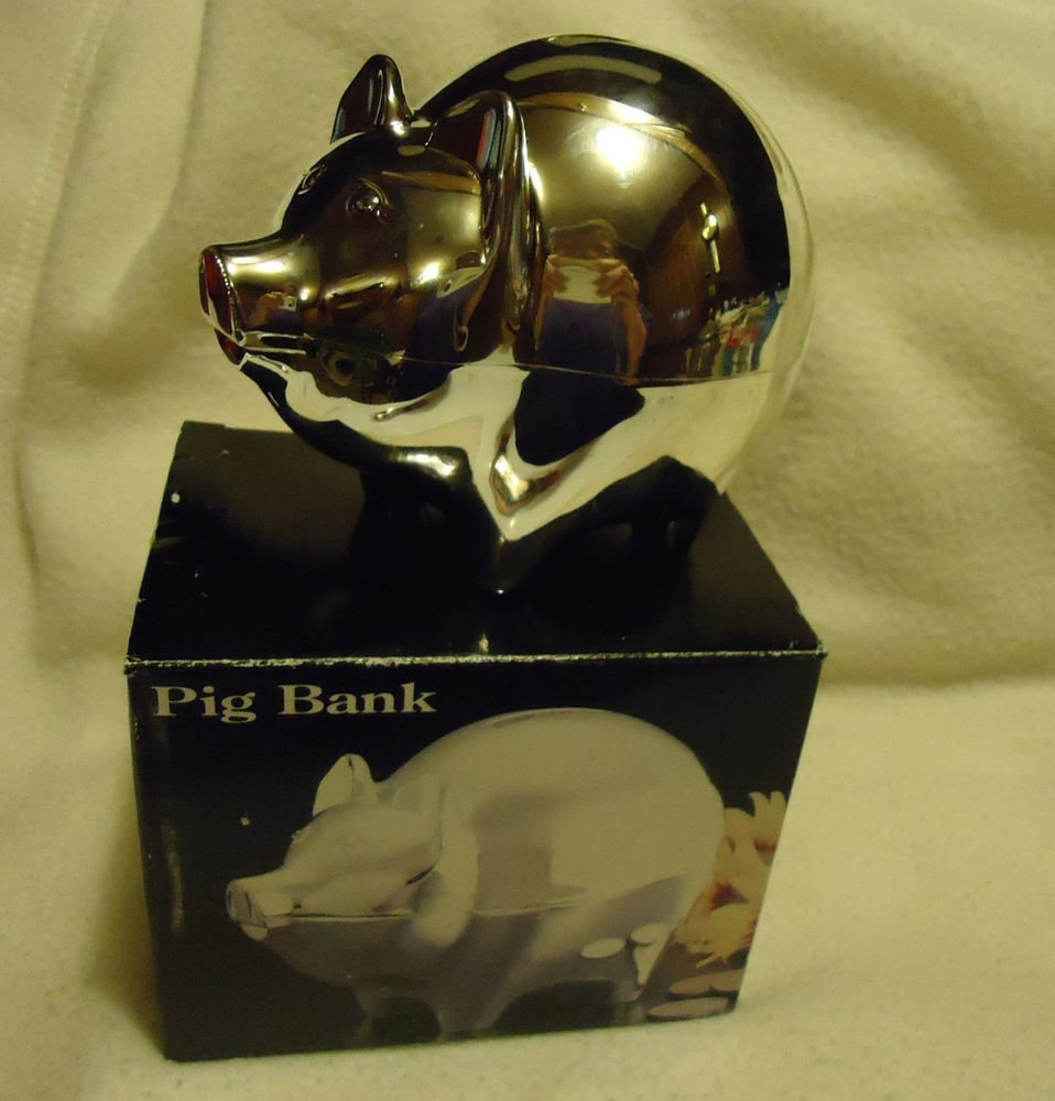 BEAUTIFUL SILVER PLATED PIGGY BANK FOR SOMEONE SPECIAL....NEW IN BOX