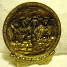 "HEAVY GOLD CERAMIC ANGELS PLATE WITH MATCHING STAND...7 1/2"" IN DIAMETER"