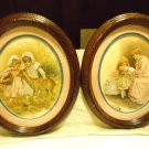 SET OF TWO BEAUTIFUL ALL WOODEN OVAL FRAMED PICTURES...OLDER CHILDREN'S PHOTOS