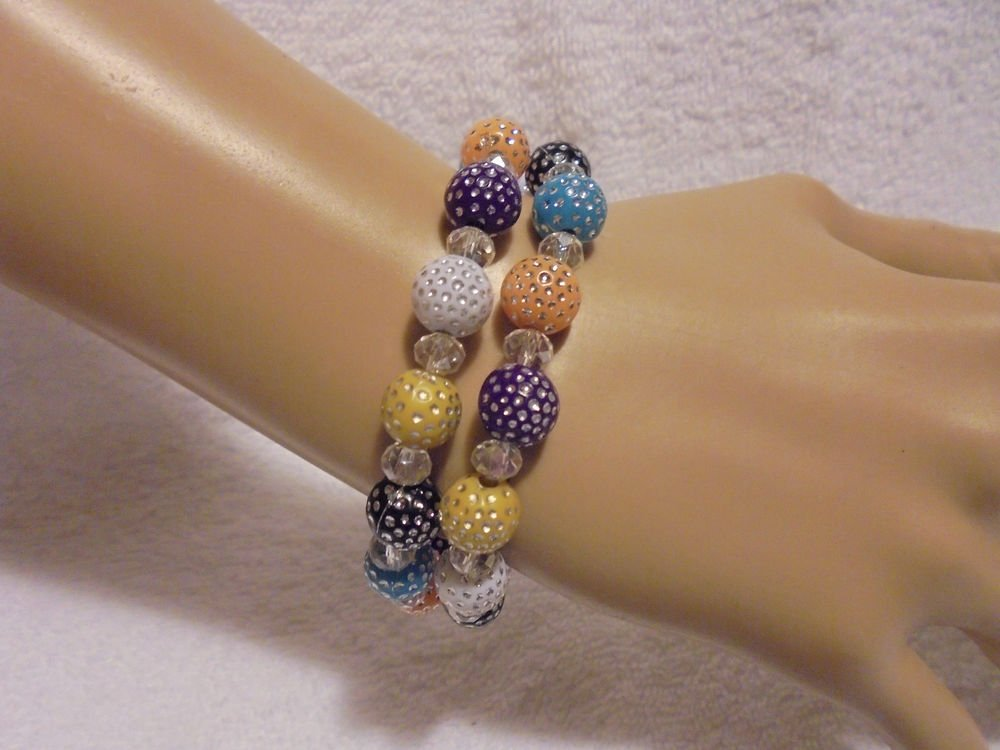 SET OF 2 MIXED COLORS WITH CRYSTAL BEADED EXPANDABLE/STRETCH BRACELETS
