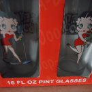 SET OF FOUR BETTY BOOP 16 OZ GLASSES...NEW IN BOX....