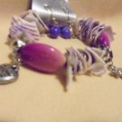 SHELL, BEADED & CHARM BRACELET PURPLE & PINK WITH EARRINGS...EXPANDABLE....NICE