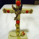 "BEAUTI FUL 7 1/2"" DECORATIVE  STANDIING CROSS...VINTAGE JEWELRY...WOODEN...NICE"
