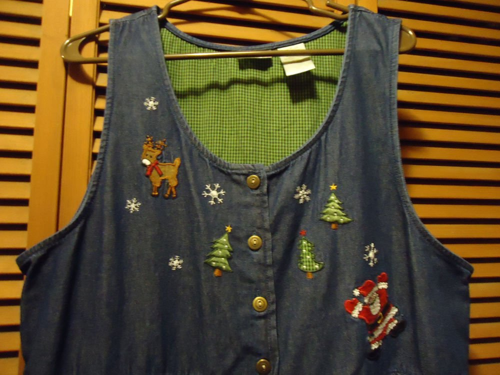 BOBBIE BROOKS CHRISTMAS DENIM JUMPER DRESS  XL-BUTTON FRONT...SANTA, REINDEER---