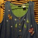 BOBBIE BROOKS CHRISTMAS DENIM JUMPER DRESS  XL-BUTTON FRONT...SANTA, REINDEER---