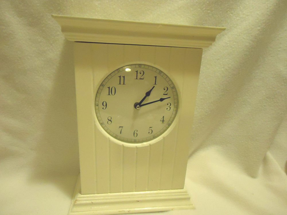 SOLID  WOOD WHITE MANTEL CLOCK..FRONT OPENS WITH TWO STORAGE SHELVES...LARGE
