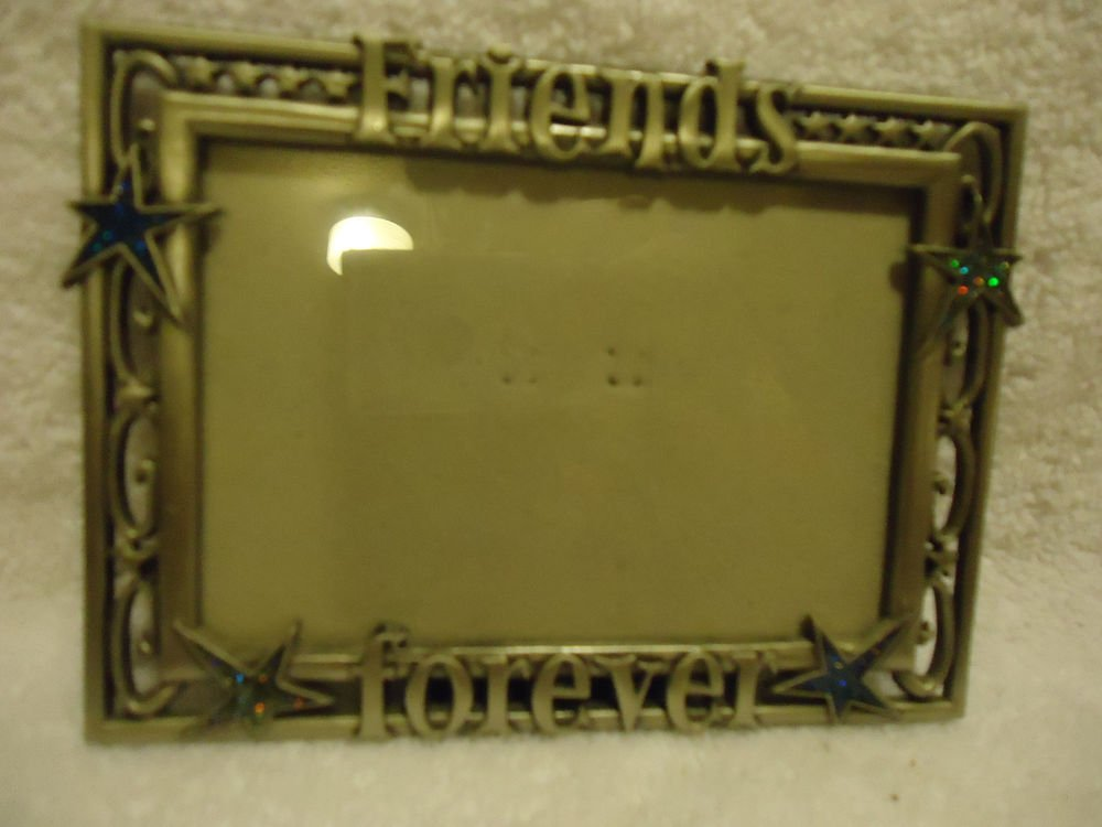 """STARS &""""FRIENDS FOREVER"""" PICTURE PHOTO FRAME 3"""" X 5"""" PHOTOS.. SILVERTONE METAL"""